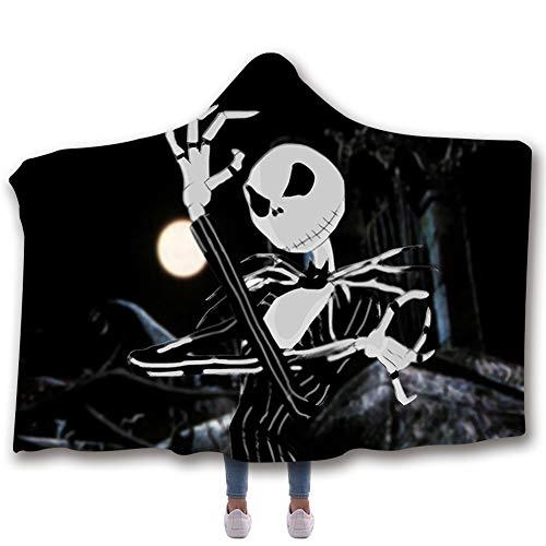 Christmas Hooded Blanket Weihnachtsnachtschrei 3D Digital bedruckte Decke Double Thickened Cloak,A,150 * 200cm -
