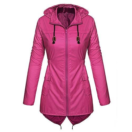 Qinpin wasserdichte Mantel Plus Size Sweatjacke mit Teddyfutter Damen Mantel Parka Regenjacke helles rosa Softshelljacke Fleecejacke Weste übergangsjacke jacken