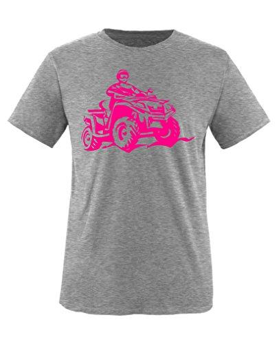 Comedy Shirts - Quad ATV - Mädchen T-Shirt - Graumeliert/Pink Gr. 122-128