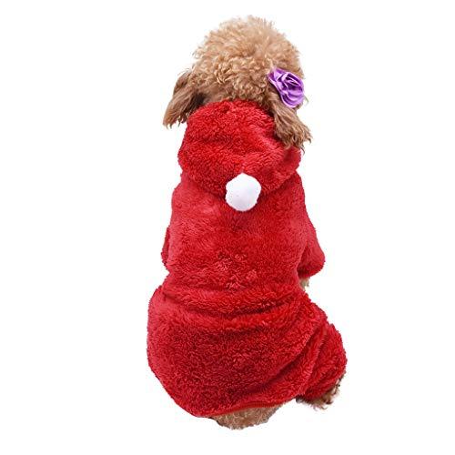 QIjinlook Haustier Hund Kleidung, Halloween Warme Weiche Kostüm Plüsch Kleidung Welpen Winter Pullover Bekleidung Jacke Mantel Warm Anzug mit Cap Weihnachten Weichen Katze Hoodie (XL, - Roten Anzug Jacke Kostüm