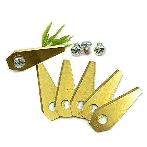 ECENCE 9 Titan Ersatz-Messer Qualitäts-Klingen SCHARF 2-seitig wendbar für Bosch Indego Mähroboter + Schrauben 43040109