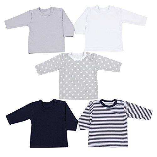 LangÄrmeliges T-shirt Set (TupTam Baby Jungen Langarmshirt 5er Set , Farbe: Farbenmix 1, Größe: 74)