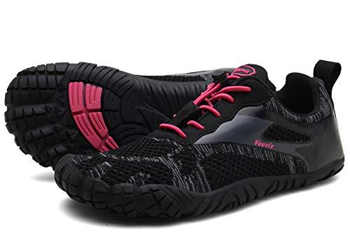 Voovix Herren Trekkingschuhe Damen Wanderschuhe Barfußschuhe Laufschuhe Traillaufschuhe Knit Sneaker Fitnessschuhe im Sommer black/red40