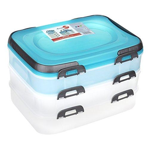 Domotti Behälter für Lebensmittel auf drei Ebenen Dolce Mix Blau