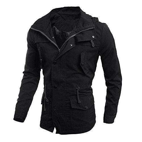 IMJONO Männer lässige Jacke Schlanke Outwear über Mantel (EU-44/CN-M,Schwarz)