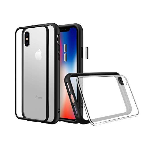 Rhino Shield Modulare Schutzhülle für iPhone XS [Mod NX] | Anpassbare, stoßabsorbierende, strapazierfähige Schutzhülle - Kompatibel mit Objektiven - Schwarze Hülle mit transparenter Backplate