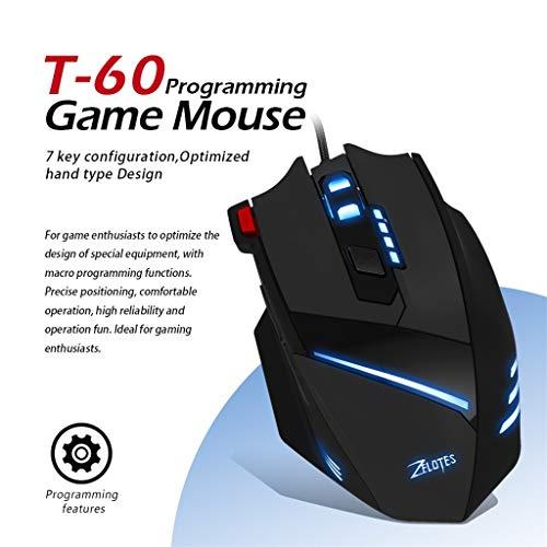 Optisch Maus Für ZELOTES T-60 7200 DPI 7-Tasten-USB-LED-Farbkabel,Bloodfin Ökologischer Umweltschutz Anti Strahlung Silent Wired Gaming Maus Maus Optical Mäuse Für PC Laptop, Office, (schwarz)