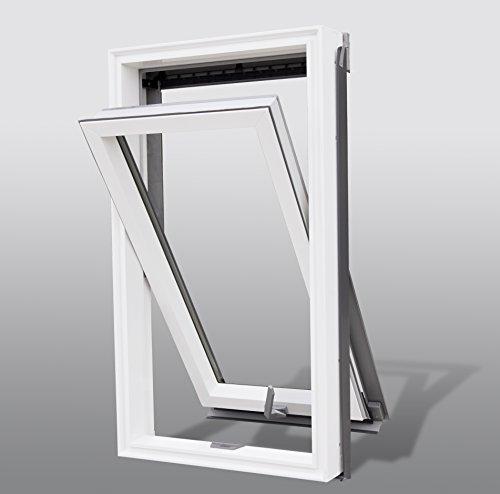 Kunststoff Dachfenster von SOLSTRO 66x118 cm Premium PVC Schwingdachfenster inkl. Eindeckrahmen für Ziegel, Größe wie F06, FK06, F6A