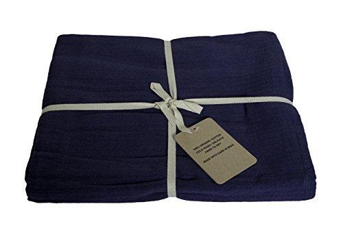 Couverture de yoga–coton bio, bleu marine