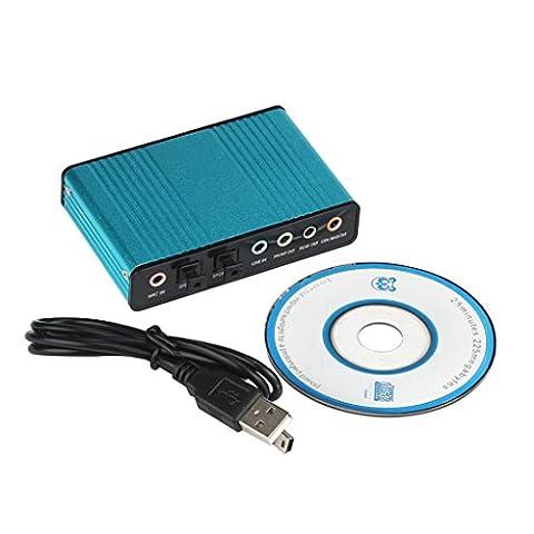 bescita USB 5.1canaux externe Carte son audio fibre optique S/PDIF pour ordinateur portable PC (Bleu)