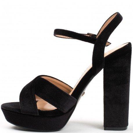 Ideal Shoes - Sandales ouvertes à talon carré effet velours Jacquie Noir