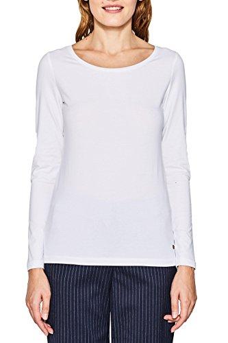 ESPRIT Damen Langarmshirt 087EE1K056, Weiß /White 100, XXL
