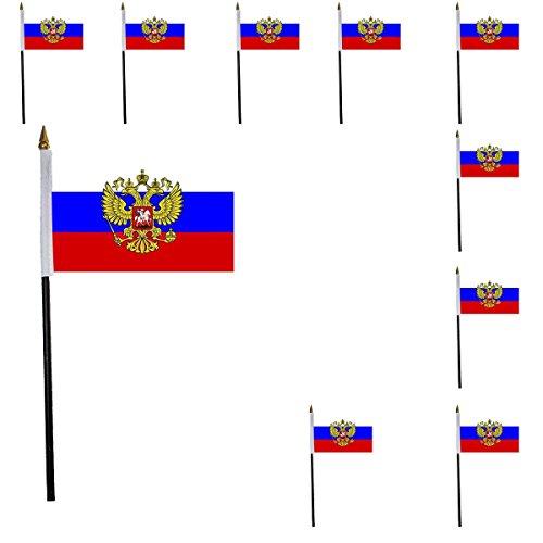 r SET Mini Flaggen WM Fußball 10x15 cm Party Anfeuern Fahnen Farbe Russland mit Wappen ()