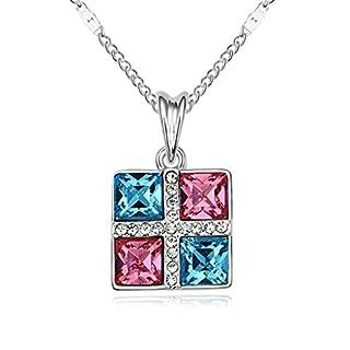 Daesar Schmuck Damenkette Vergoldet Platz Halsketten Zirkonia Anhänger Halskette für Frauen