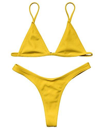 2 Thong (LEESMILE Frauen Sexy Brazilian Thong 2 Stück Spaghetti Strap Badeanzug Bademode Badeanzug(M (EU-Größe 36-38),Gelb))