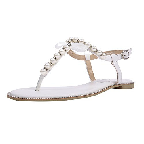64288945b6f9c SheSole Ladies Toe Post Party Flat White Sandals Flip Flops Pearl Wedding  Shoes UK Size 7