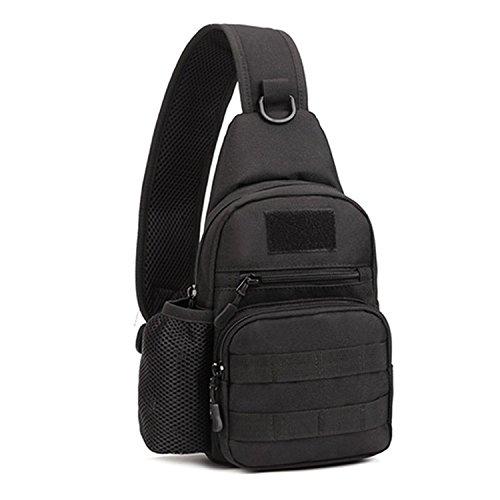 Unisex borsa monospalla sling pacco petto zaino tattico militare borsa a spalla per outdoor sport campeggio escursioni bicicletta casual, nero