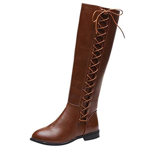 Junjie Frauen Leder Reißverschluss Quadrat Ferse Hohe Stiefel Kniehohe High Heel Schuhe Runde Zehen Stiefel Schwarz, Khaki, Braun