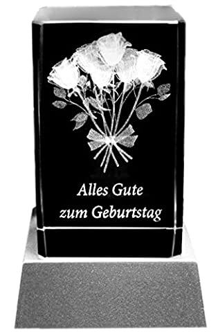 Kaltner Präsente Stimmungslicht - Das perfekte Geschenk: LED Kerze / Kristall Glasblock / 3D-Laser-Gravur ALLES GUTE ZUM (Gute Freundin Geschenke)