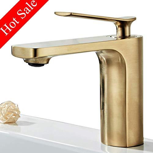 Wasserhahn bad, Modern Waschtischarmatur,Einhandmischer Waschtischarmaturen,Keramikventil, Kaltes und Heißes Wasser Vorhanden,Gebürstetes Gold -