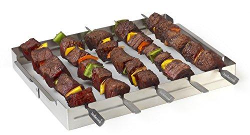 41%2BUsvDW6NL - Grillspießhalter für 5 Spiesse aus Edelstahl - Grill Zubehör  --> großes Sortiment an Grill Zangen Rost und Zubehör fürs Grillen
