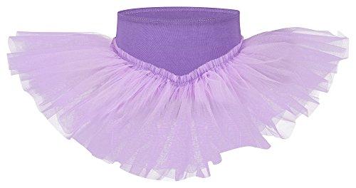 tanzmuster Kinder Tutu Ballettrock Pia aus weicher Baumwolle und Tüll zum Reinschlüpfen - Tuturock in lavendel, Größe:92/98