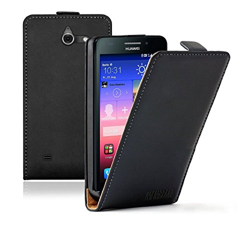 Membrane - Schwarz Klapptasche Hülle Huawei Ascend Y550 (Y550-L01, Y550-L02, Y550-L03) - Flip Case Cover Schutzhülle + 2 Display-Schutzfolien
