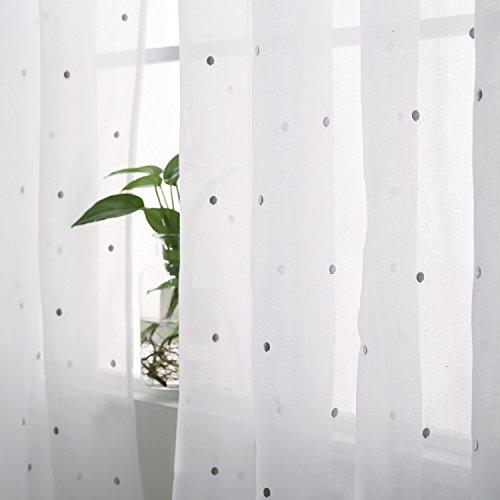 Deconovo Voile Vorhänge mit Ösen Vorhänge Durchsichtig Gardinenschals mit Stickerei 138x140 cm Hellgrau Punkt