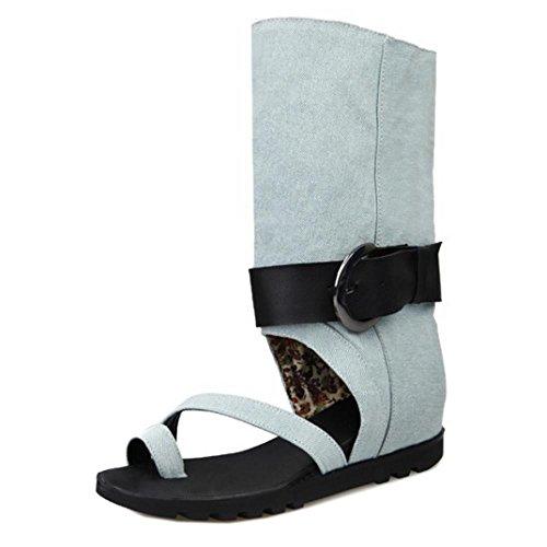 TAOFFEN Femmes Chaussures Bout Ouvert Talons Compenses Ete Sandales De Bouton 569 Bleu Clair