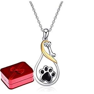 925 Sterling Silver Dog Bone mit Welpen-Paw Pendant Halskette für Frauen