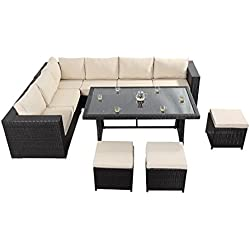 West Country mesa sofá de esquina–consta de un gran sofá de esquina de tres Modular dos plazas sofás, una parte superior de cristal mesa de comedor y tres reposapiés de ratán muebles de jardín