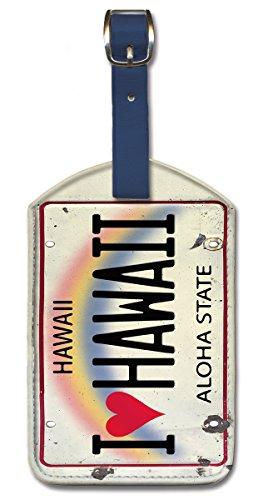 Kofferanhänger Gepäckanhänger Kunstleder Bag Tags - I Heart Hawaii License Plate von iStock