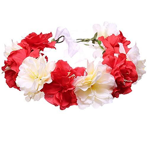 GHJSF Frauen Charming Big Flower Stirnband Stiefmütterchen handgemachte Blume Stirnband Haar Kranz Girlande Krone Kopfschmuck Hochzeit Festival Party Für Damen (Farbe : Rot) -