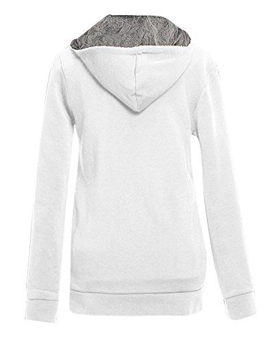 ZANZEA Femme Automne Hiver Col Haut Fleece Hoodie Jumper Capuche Sweats Shirt Blanc