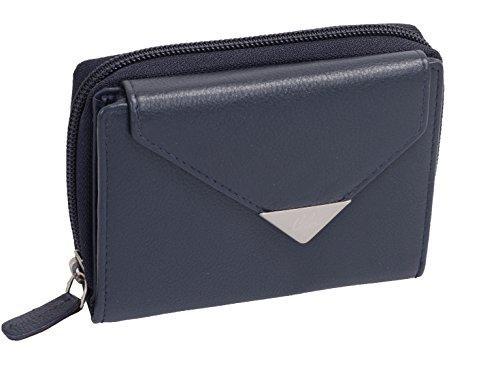 Porte-monnaie pour femme LEMONDO, cuir véritable, bleu foncé 13x10cm