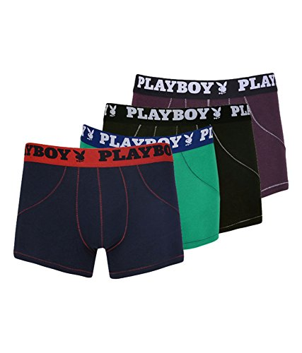 Playboy Baseball Men's Cotton Boxer Brief In Assorted Colours-pack Of 4