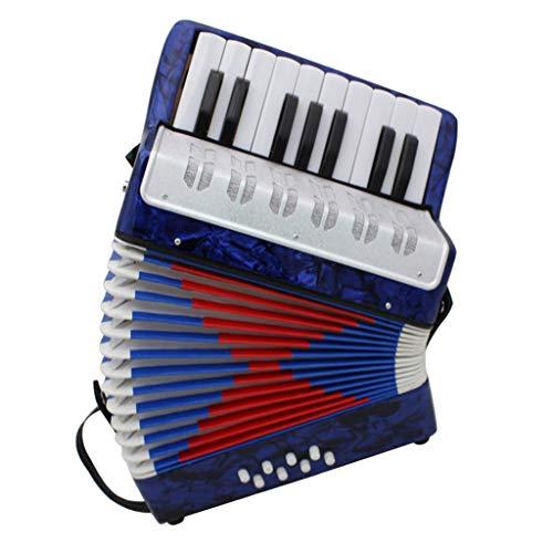 D DOLITY 17 Tasten Kinder Knopfakkordeon Musikinstrument Pädagogisches Spielzeug inkl. Tasche - Dunkelblau