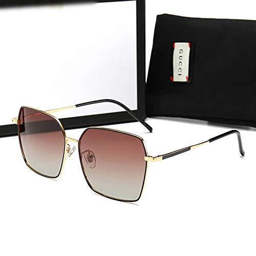 FORTINGBAR Neue Herrenmode Radfahren Sonnenbrillen, polarisierte Metallspiegel UV 400 Objektivschutz (Farbe : Gold Frame/Brown)