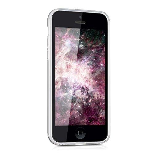 kwmobile Hülle für Apple iPhone 5C - TPU Silikon Backcover Case Handy Schutzhülle - Cover klar Zwei Farben Design Pink Blau matt Indische Sonne Violett Weiß Transparent