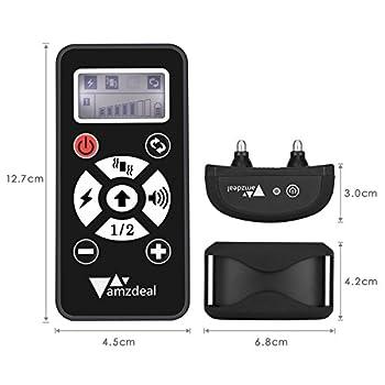 Amzdeal Collier de dressage automatique pour chien avec contrôle à distance de 300 mètres, collier anti aboiement rechargeable avec 4 modes (Bip/choc statique/vibration/automatique) - Noir