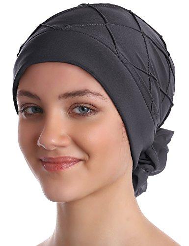 Deresina Headwear Motif iamant Turban avec Une Longue Queue pour la Perte de Cheveux (Gris Clair)