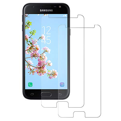 DOSNTO Displayschutzfolie für Samsung Galaxy J3 2017 Panzerglasfolie,Gehärtetes Glas [2 Stück] 9H Frontglas-Schutzfolie, [Anti-Scratch] [Case Friendly] [Ultra HD] Einfache Installation Glasfolie