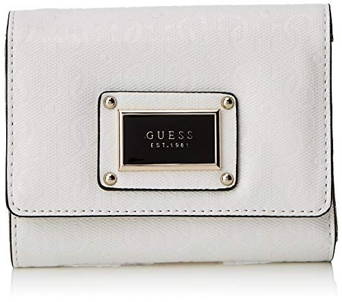 Tri-fold Clutch (Guess Damen Shannon Slg Small Trifold Münzbörse, Weiß (Bianco), 13x11x3 centimeters)