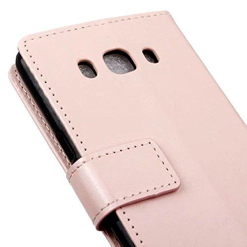 Samsung J5 (2016) Étui, couleur unie Crazy Horse texture Rétro étui en cuir de protection Horizontal Flip Stand Case avec couvercle portefeuille Slots de carte pour Samsung Galaxy J5 (2016) ( Color :  Pink