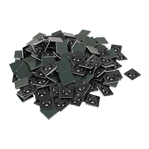 Auto-adhésif carré Plastique cravate noire et bases montage 21 x 21 x 5mm 200pcs