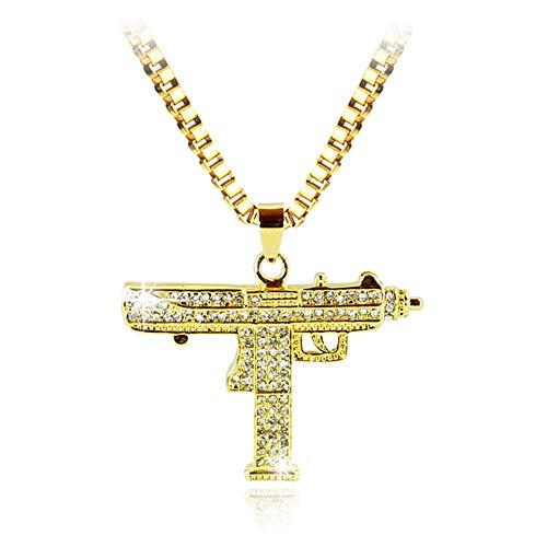 Hip Hop Uzi Gun Halskette Charm Gold Silber Farbe Kristall Pistole Anhänger Halskette Für Frauen Und Herren Mode Schmuck Zubehör