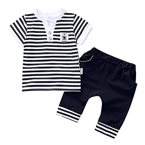 DWQuee Baby Boys Clothing Set, Striped T shirt Tops Shorts Outfits for 0-5 Years