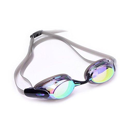 Schwimmbrille LCSHAN Galvanisierte Männer und Frauen können Reflektierende Linsen Wasserdichte Schutzbrillen Anti-Fog verwenden (Farbe : SCHWARZ) -