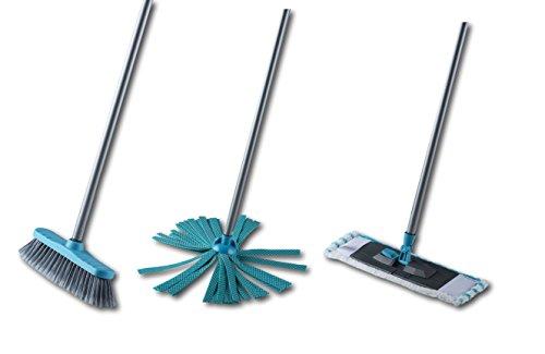 3in1 Putz-Set Wischmop, Mikrofaser-Tuch, Besen Reinigungs-Set Metall Stiel 110 cm (Blau)