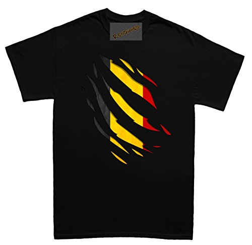 Renowned Belgium Flag Inside Under Torn Ripped Herren T Shirt Schwarz